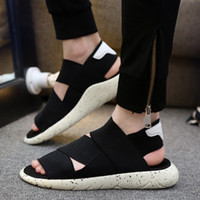 Wholesale Platform Flat Sandals Straps White - Spring, summer, breathable sandals male han edition sports leisure ultra boost peep-toe platform antiskid beach slippers Roman couples