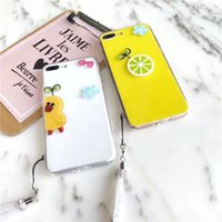 Lovely 3D Soft Jelly Fruit Lemon Cartoon Case Silicone Back Cover para iPhone 8/7 / 6s / 6 Plus