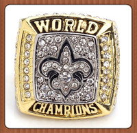 Wholesale Saints Rings - FREE SHIPPING Sales Promotion 2009 New Orleans Saints Replica Super Bowl Championship Ring Replica Gold Plated Alloy Rings For Men