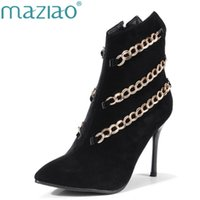 Hot venda Mulheres High Heel Ankle Boots cadeia Design criativo Mulheres Botas Winter Short Boots Pointed Toe Lady Shoes Big Small Size