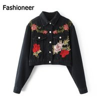 Wholesale Fashioneer Women winter Vintage Floral Embroidery Denim Jacket Lapel Long Sleeve cotton outwear thicken warm plus size women jeans coats