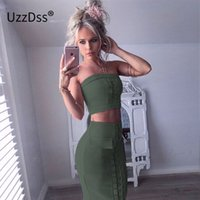 Wholesale Leather Strapless Top - Women Dresses Lace Up Suede Leather Dress Sexy Tube Top + Dress 2 Pcs Set Crop Top Women Spring Slim Pink White spring Dresses