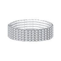 Wholesale stretchy rhinestone bracelets - Fashion Women Elastic Stretchy 5 Row Rhinestone Crystal Bracelet Bangle Bridal Jewellery