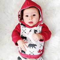 Wholesale Hooded Baby Sweater - 2017 autumn winter infant baby christmas outfits sets newborn toddlers deer print hooded sweater with matching long pants 2piece outfits