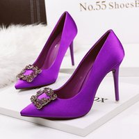 Wholesale Brand stiletto heel square buckle rhinestone dress wedding shoes sexy red silk high heels pumps colors