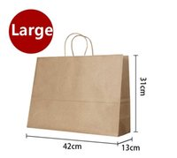 Wholesale Paper Gift Bag Large - Wholesale- 10PCS Large kraft gift paper bag with handle  horizontal Multifunction wedding party   42*31*13cm Fashionable cloth paper bags
