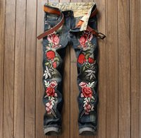 Wholesale Owl Top Men - Top New Bieber beggars Distrressed trousers Chinese Love rose Owl embroidered jeans New fashion Ripped Straight holes Hiphop patches jeans