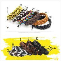 lederarmbänder für jungen großhandel-Lederarmbänder Modeschmuck für Mädchen Jungen Charme Punk Style Armbänder Leder Armbänder Einstellbare Manuelle Handgemachte DIY Hände Ketten