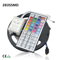 Luces De Tira Flexibles Llevadas Al Por Mayor Baratos-Venta al por mayor-5M / roll Flexible 12V tira de la lámpara 2835 300LEDs LED Stripe Light Fita con 44 teclas de control remoto para la iluminación de la barra de Navidad