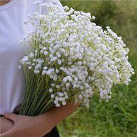 Wholesale white gypsophila flowers - 60cm Gypsophila Babys Breath Artificial Fake Silk Flowers Plant Home Wedding Decoration 3Color White Beige Purple