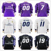 Wholesale Boys Shirts Long Sleeves - Kids Real Madrid Long Sleeve Soccer Jerseys 4 Sergio Ramos Ronaldo Kroos Benzema Bale Marcelo Morata Isco Modric Youth Football Jersey Shirt