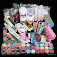Wholesale Finger Nail Tip Kits - 42 Acrylic Liquid Powder Glitter Clipper Primer File Nail Art Tips Tool Brush Tools Set Kit new