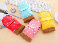 Wholesale Fabric Pencil Case Pattern - New Stationery Multifunctional big capacity pencil case Dot school bag pattern Cute storage box Pencil Bag Pen Holder