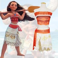 Wholesale Lemon Fancy Dress - 2017 Moana dress Girl Women Animie Movie Polynesia princess Moana Cosplay Costume Dress halloween Princess Fancy Polynesia princess Moana