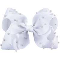 Wholesale Hair Pearl Bow Clips - 8 Inch Baby Pearl Attached Jumbo Hair Bow For Girl Kid Girl Toddler Hair Clip Hair Accessories