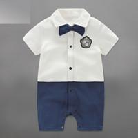 Wholesale Baby Jumpsuit Gentlemen - Newborn Baby Boy Clothes Gentleman Cotton Short Sleeve Romper 5 Designs Summer Bow Tie Children Kids Jumpsuits