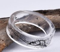 Band Rings paint epoxy resin - Fashion Handmade Resin Epoxy Ring Inside Tree and Bird Ink painting Scenery Jewelry
