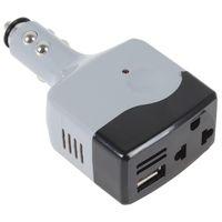 adaptador usb 12v auto al por mayor-Al por mayor-Nuevo Gris USB Car Mobile Power color gris convertidor del convertidor del convertidor del automóvil cambio DC 12V 24V en AC 220V 2016 estilo