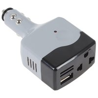 inverter 12v usb großhandel-Großhandels-neue graue USB-Auto-bewegliche Energie-graue Farbe Selbstkonverter-Inverter-Adapter-Änderung DC 12V 24V in Wechselstrom 220V 2016 Art