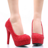 Wholesale auger pump - New red pearl high with shallow mouth set auger shoes round head single shoes for women's shoes banquet banquet