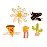 Wholesale Pizza Jacket - Wholesale- PIZZA WINS win my heart YES NO Flower Cactus French Fries Cartoon Brooch Pins Button Pin Denim Jacket Pin Badge Gift Jewelry