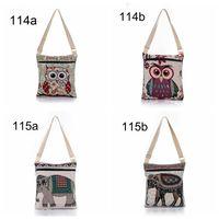Wholesale Owl Crossbody Bags - Elephant Owl Print Messenger Bags Cartoon Cute Women Shoulder Bags National Style Crossbody Bag 4 Designs OOA2408