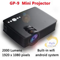 Mini proiettore LED proiettore GP-9 Built-in Cinema Home Theater Pico a cristalli liquidi video mini proiettore sistema Android WIFI Full HD 1080P Portable USB