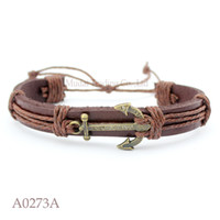 Wholesale Brass Nautical - (10PCS lot) ANTIQUE BRASS ANCHOR Charm Adjustable Leather Cuff Bracelet Nautical Sailing Casual Friendship Jewelry Gift