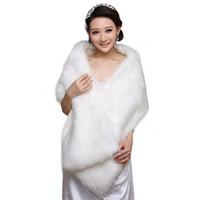 beyaz sahte kürk ceket toptan satış-Zarif Beyaz Uzun Gelin Sarar Sahte Sahte Kürk Hollywood Ucuz Stok Düğün Ceketler Açık Kapak up Cape Çaldı Coat Shrug Şal Bolero