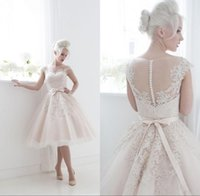 Wholesale Princess Houses - 2017 Vintage Short Lace Appliques A-Line Wedding Dresses Ball Gown Tea Length Capped Sleeves Covered Button Sash House of Mooshki Darla