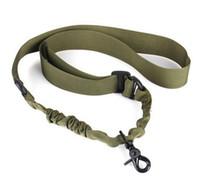 Wholesale Nylon Sling Belt - Nylon Tactical Sling one Point Adjustable Bungee Strap For Hunting Elastic Belt Detach Quick Release Buckle Carabiner