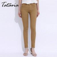 Wholesale Size Xs Pants For Women - White Jeans Long Pants Large Size Jeans For Women Feminino Plus Size Candy Pantalon Femme Black Skinny Jeans Woman GAREMAY 9851