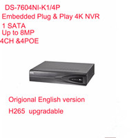 Wholesale Hikvision Nvr - Hikvision English Version DS-7604NI-K1 4P Embedded Plug & Play 4K NVR Support H.265 Up to 8MP 4POE 4CH Network DHL Free Shipping