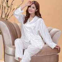 Wholesale Pyjama Tops - Wholesale- White and Pink Silk Satin Pajama Sets For Women Sleepwear Long Pajamas tops and Pants Pyjamas Set S1