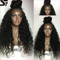 Wholesale Deep Curly Wigs - SF Human Hair Lace Wig Deep Curly Lace Front Wigs With Half Buns Brazilian Full Lace Wig For Blackwomen And Pre Plucked Natural Hairline