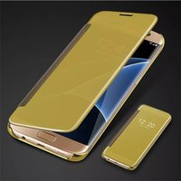 Wholesale Iphone Chrome Case Cover - For Samsung S8 Plating Mirror Leather Case Clear Window View Chrome Flip Electroplate Phone Case Cover for Galaxy S7 S6 edge