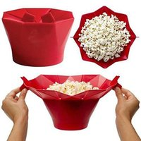 Wholesale Microwave Bowls - New Silicone popcorn bucket Popcorn maker storage container Foldable microwave pop corn box bucket puffed rice food bowl kitchen accessories