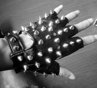 Wholesale Korean Half Finger Gloves - Wholesale- Nightclub male singer DS hip-hop men Korean Half Finger men's gloves leather gloves atmospheric rivet black left right hand