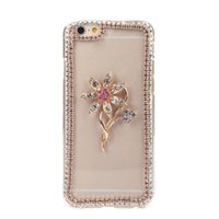 Luxo Claro Transparente Crystal Circle Bling Rhinestone Diamond Flower Case Hard Back Cover Protective Shell para Apple iPhone 6
