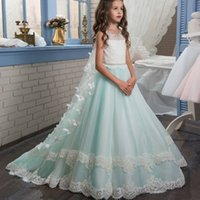 Wholesale Small Pageant Dresses - ALF2 Custom Made Butterfly Lace small train flower girl dresses for girls pageant prom gown Party piano fashion Show Dress