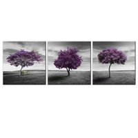 Wholesale canvas prints wall painting purple for sale - Group buy 3 Panels Canvas Wall Art Purple Trees Picture Prints Landscape Picture Canvas Painting with Wooden Framed Read to Hang for Home Decoration