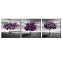 фиолетовая панель оптовых-3 Панели Холст Wall Art Purple Trees Картина Отпечатки Пейзаж Картина Холст с Деревянным Каркасом Читать, чтобы повесить для украшения дома