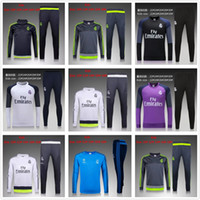 Wholesale Children S Wear Boys - 2016 Kids Long Sleeve Real Madrid Tracksuit Jogging Boys Soccer Sets Football Suits Youth Sport Wear Children Ronaldo training Kits