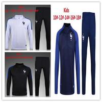 Wholesale Child S Jacket - children long sleeve Top qualit 16 17 France kids football jacket tracksuit 2017 kante de foot POGBA jacket Training suit