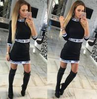ingrosso sesso del vestito da bodycon-S-XL Lettere Stampa donne Patchwork Dress 2016 Estate 3/4 Sleeve Abiti casual del sesso Plus Size Bodycon abiti ufficio abiti all'ingrosso.