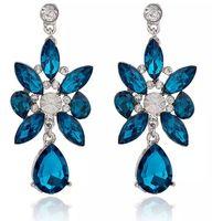 Wholesale Artificial Wild Flowers - Fashion Drop earrings big colorful wild flowers artificial gemstones crystal women wedding earring dangling Free shipping
