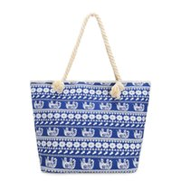 New Design Vintage Canvas Handbag Bolsa de praia Bohemia Style Elephant Impresso Blue Shopping Big Tote Travel Shoulder Bags J175