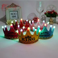 Wholesale Baby Prince Crown Hat - Led birthday party Prince & Princess crown sequin crown baby Hat Hair Accessories kids Hair Accessory A981