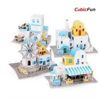 Wholesale Wholesale Cubic Fun - Wholesale-Cubic Fun 3D puzzle DIY World Style paperboard Model , Architectural Features Greece Flavor Puzzle 3D Model,Toys For Children