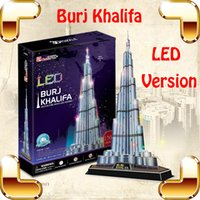 Wholesale Khalifa Tower - New Year Gift Burj Khalifa 3D Puzzles Model Building LED Tower DIY Display Decoration Toys Education IQ High Collection Pro Game